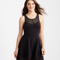 Solid Eyelet Fit & Flare Dress