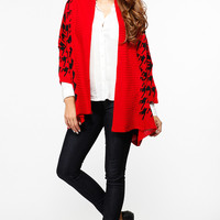Houndstooth Print Chunky Red Cardigan