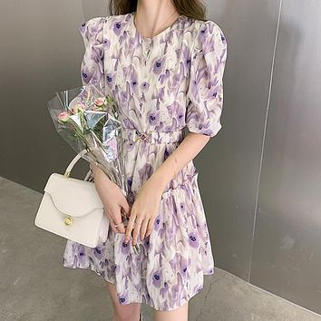 Sweet Floral Printed O-Neck Puff Sleeve Party Dress Female Elegant Women A-line High Waist Midi Dress With Belt