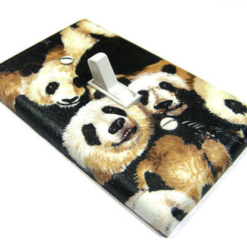 Panda Bears Lover Light Switch Cover Black and by ModernSwitch