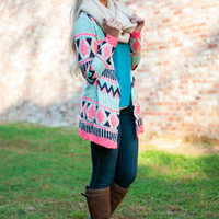 Bright Love Cardigan, Mint/Pink