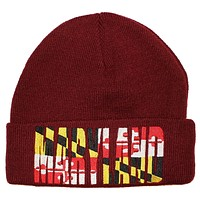 Maryland Flag Embroidered (Burgundy Red) / Knit Beanie Cap