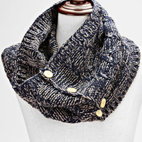 Knitted Button Infinity Scarf Navy Blue