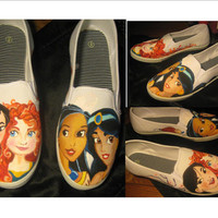 hand painted Shoes women's size 9 - Princesses Merida, Jasmine, Pocahontas, Mulan