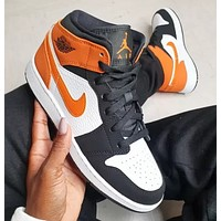 NIKE Air Jordan 1 Mid  New fashion hook men sports leisure shoes