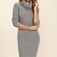 Hometown Bound Heather Grey Long Sleeve Sweater Dress