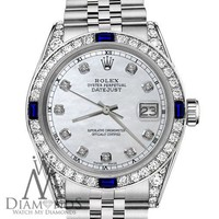 Ladies Rolex 31mm Datejust White MOP Dial with Sapphire & Diamond Bezel Watch