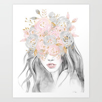 She Wore Flowers in Her Hair Rose Gold by Nature Magick Art Print by naturemagick