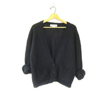 80's vintage black Mohair Wool blend sweater. preppy cardigan sweater. hipster pocket cardigan. womens Large
