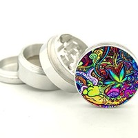 Psychedelic Weed Design -42 mm- Tobacco And Herb Grinder 4 Parts That Has Fashion Design On And Covered With Crystal Clear Doming Item # G42-5715-273
