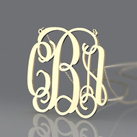 Two initial block monogram necklace--1.25 inch plated in gold monogram or customized