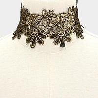 "14"" gold reversible embroidered choker collar necklace 2.50"" wide"