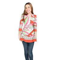 Engineered Knit Slit Neck Tunic in Isabelle Coral and Lime by Barbara Gerwit