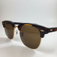 Authentic New RB/3016 Ray-Ban Designer Sunglasses Clubmaster Tortoise-Gold 51mm