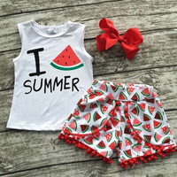 Watermelon Summer Shorts outfit with matching Hair bow