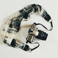 Scarf Camera Strap - Black and Cream - dSLR Camera Strap