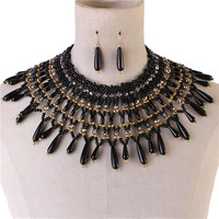"15"" pearl bead collar choker bib boho necklace 1.80"" earrings"