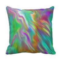 Smooth psychedelic rainbow color throw pillow