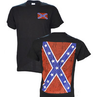 Confederate Flag on a Black Short Sleeve T Shirt 2 sided