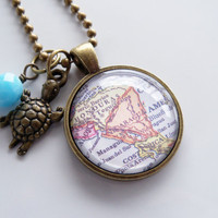 Map of Nicaragua - Honduras, Costa Rica - Map Pendant Necklace - Custom Jewelry - Travel Necklace - You Choose Bead and Charm - Personalized