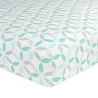 Just Born® Classic Bedding Collection Tribeca Fitted Crib Sheet in Teal/Grey