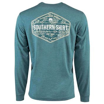 Shadow Badge Long Sleeve Tee in Colonial Blue by The Southern Shirt Co.