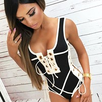 Summer New Fashion Solid Color Lace Vest One Piece Bikini Swimsuit Black