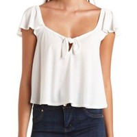 Knotted Flutter Sleeve Swing Crop Top by Charlotte Russe