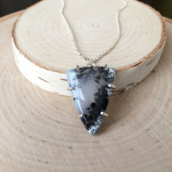 New! Dendritic Pendant in .925 Sterling Silver Prong Setting with Sterling Rolo Chain, Natural Gemstone Pendant, Agate Cabochon Necklace