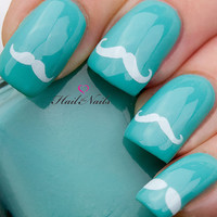 36 Moustache White Nail Art Water Transfers Decals Wraps YD079 Cutest Stickers