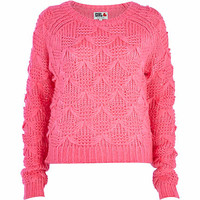 PINK CHELSEA GIRL BOW KNIT JUMPER