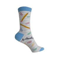 Teacher Crew Socks in White and Blue