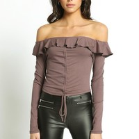 Ruffle Knit Off Shoulder Crop Top