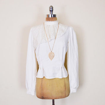 Vintage 70s Ivory Cream Off White Sheer Lace Blouse Top Shirt Ruffle Collar Blouse Victorian Collar Victorian Blouse 70s Hippie Hippy Boho M