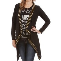 Black Studded Open Knit Jacket