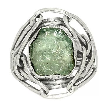Aquamarine Rough Industrial Sterling Silver Ring