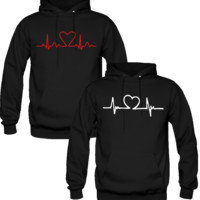 HEART BEAT DESIGN  LOVE COUPLE HOODIES