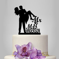 personalize wedding cake topper with your wedding date, bride and groom silhouette, funny cake topper, unique cake topper