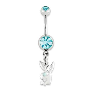 Surgical Stainless Steel Aqua Crystal Playboy Bunny 14g Belly Naval Ring