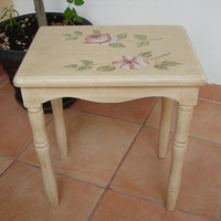 Vintage,French-shabby chic style,hand-painted roses & magnolia dressing table stool