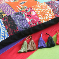 Colorful Custom Pillow or Cushion Cover in Indonesian Batik Patchwork, 20 or 30 inch Floor Cushion, Tassels, Rolled Edges, FREE Shipping