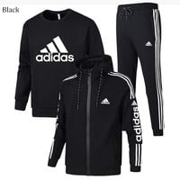 ADIDAS winter plus velvet thickening sports and leisure warm men's three-piece black