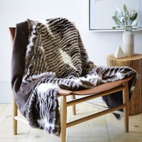 Faux Fur Spotted Stripe Throw
