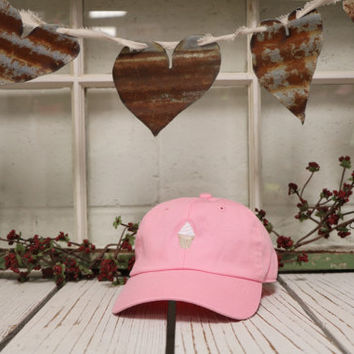 VANILLA ICE CREAM Baseball Hat Low Profile Embroidered Baseball Caps Dad Hats Pink
