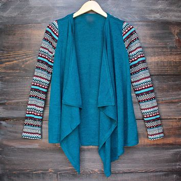 Lightweight Open Front Cascading Cardigan with Print Sleeves in Teal