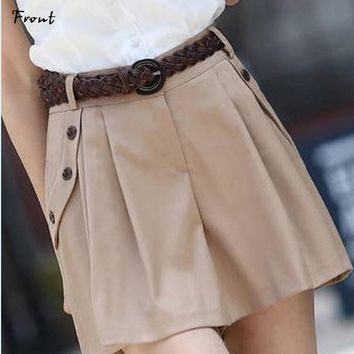 Cool Style Trousers  Women Fashion A-line Culottes Shorts Skirts Female Casual Bottom Skort With Belt