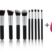 NEW 10 Piece Professional Kabuki Contouring Makeup Brush Set with Taklon Synthetic Hair for Face, Cheeks and Eyes, Liquid Cream Powder Mineral Make Up, BONUS Complexion Beauty Sponge Blender