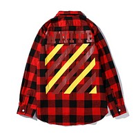 Off White New fashion letter stripe print plaid long sleeve top shirt coat Red