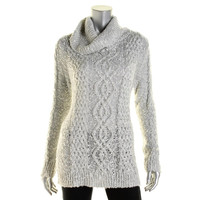 Charter Club Womens Metallic Cable Knit Pullover Sweater