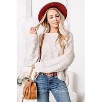 It's That Time Chenille Knit Sweater | Dusty White